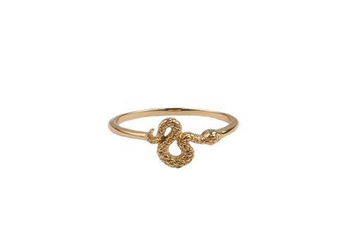 All the Luck in the World Bliss Goldplated Ring Snake Green Eyed