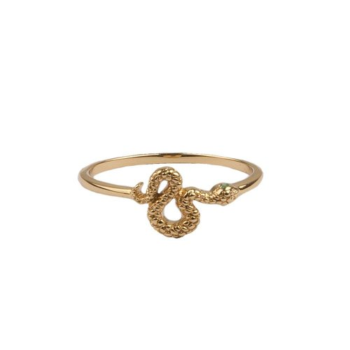 Bliss Goldplated Ring Snake Green Eyed