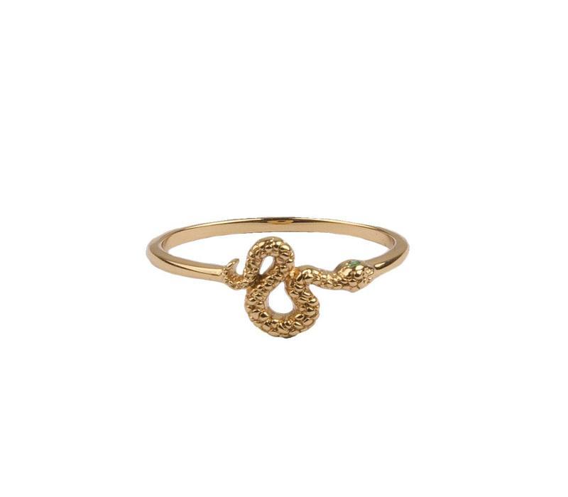 Ring Snake Green Eyed 18K gold