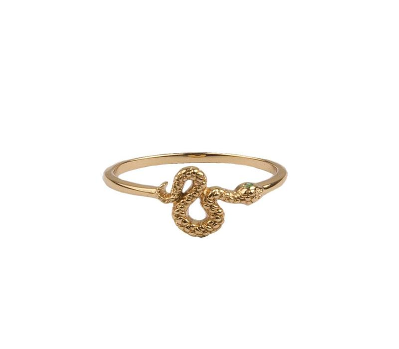 Ring Snake Green Eyed plated