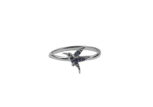 All the Luck in the World Bliss Silverplated Ring Hummingbird