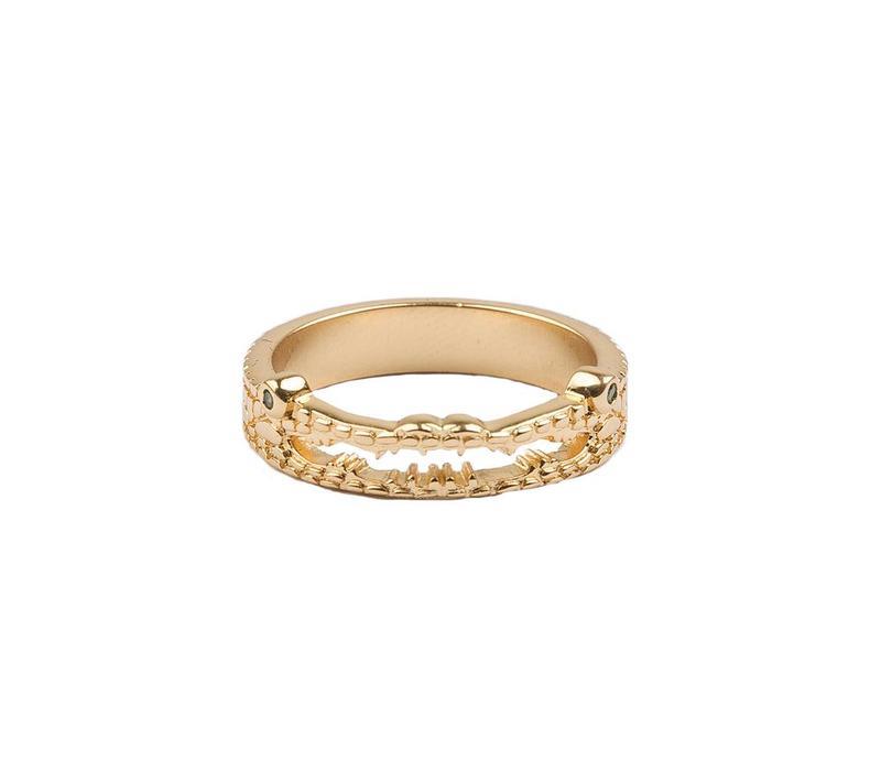 Bliss Goldplated Ring Krokodil Groen