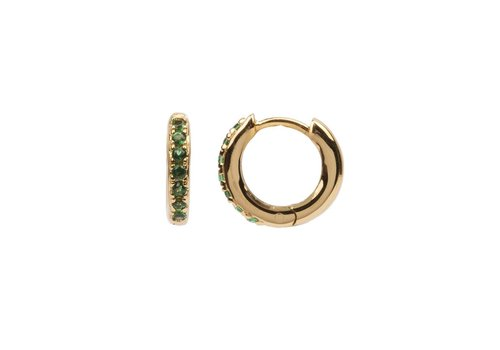 All the luck in the world Earring Creole Emerald green 18K gold