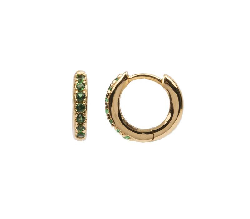 Earring Creole Emerald green 18K gold