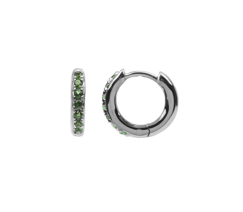 Oorbel Creool groen Emerald zilver