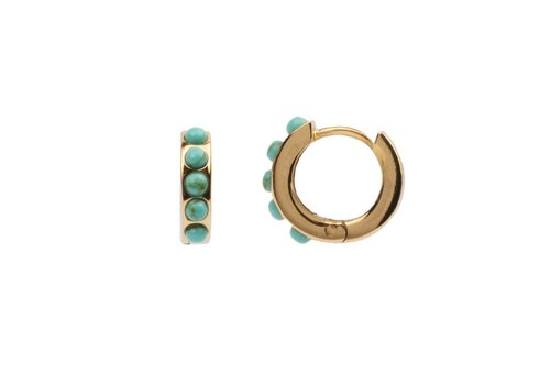 All the Luck in the World Creole thick Turquoise 18K gold
