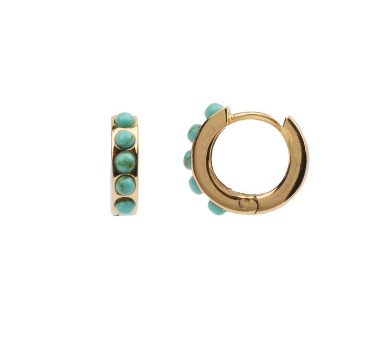 Bliss Goldplated Creole thick Turquoise