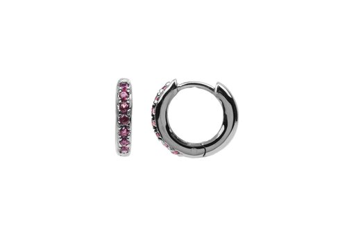 All the Luck in the World Earring Creole Ruby pink silver