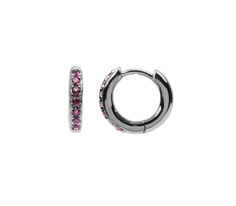 Oorbel Creool Ruby roze zilver