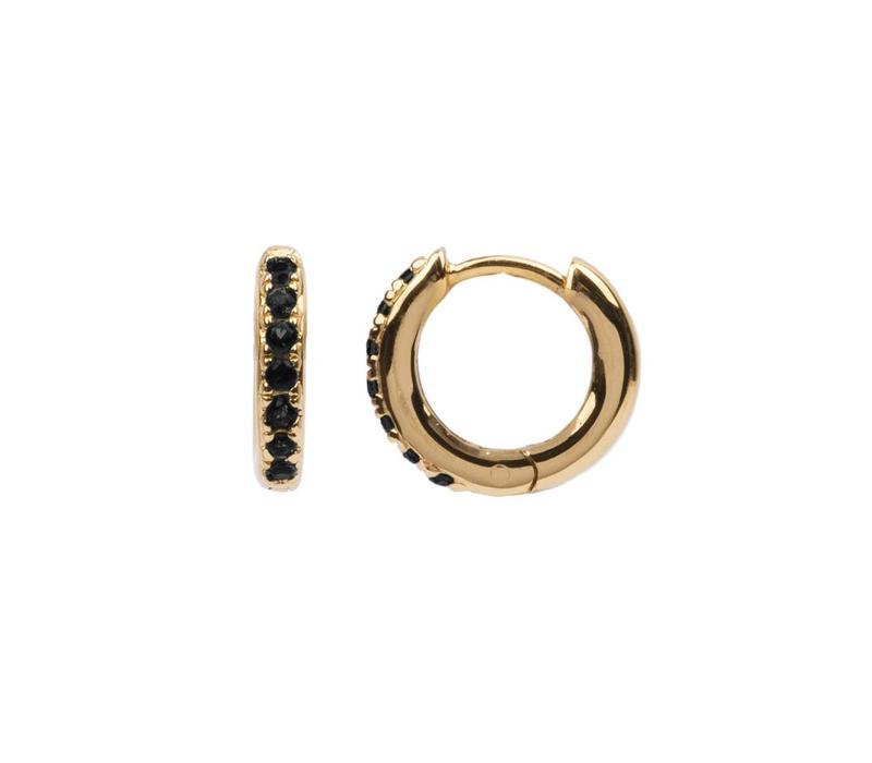 Oorbel Creool Onyx zwart 18k goud