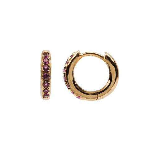 Oorbel Creool Ruby roze 18K goud