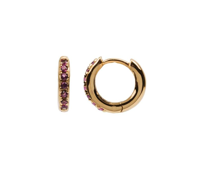 Bliss Goldplated Earring Creole Ruby pink