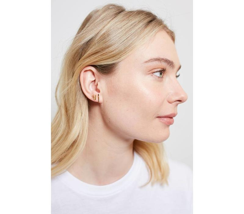 Earring Bar Black Onyx plated