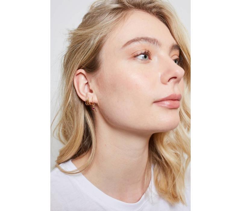 Earring Hook Ruby pink 18K gold