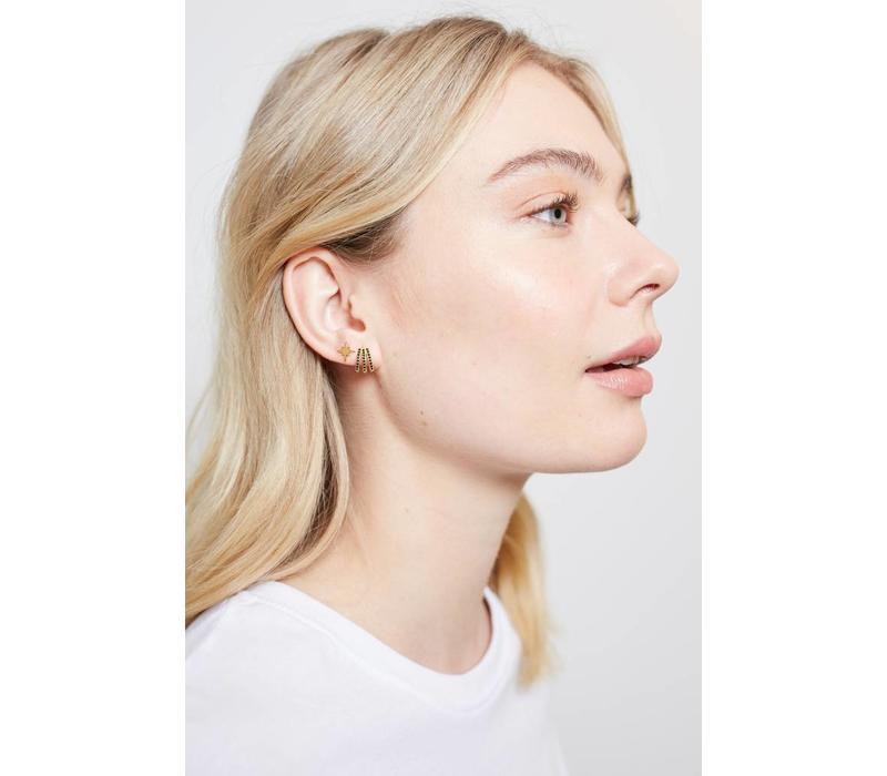 Earring 3 Split Black Onyx plated