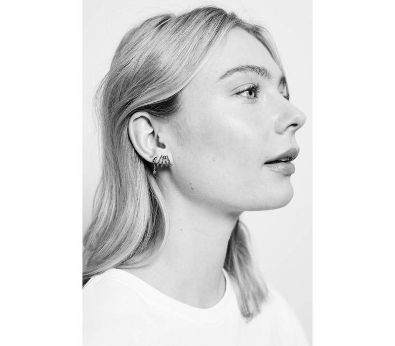 Bliss Silverplated Earring 4 Split Black Onyx