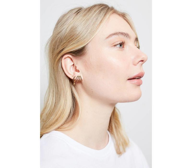 Earring 4 Split Black Onyx 18K gold
