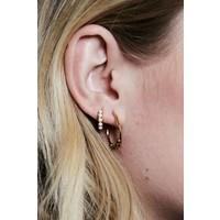 Earring creole big Black Onyx 18K gold