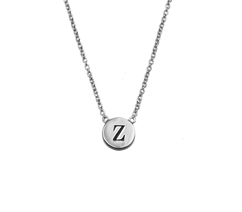 Character Silverplated Ketting letter Z