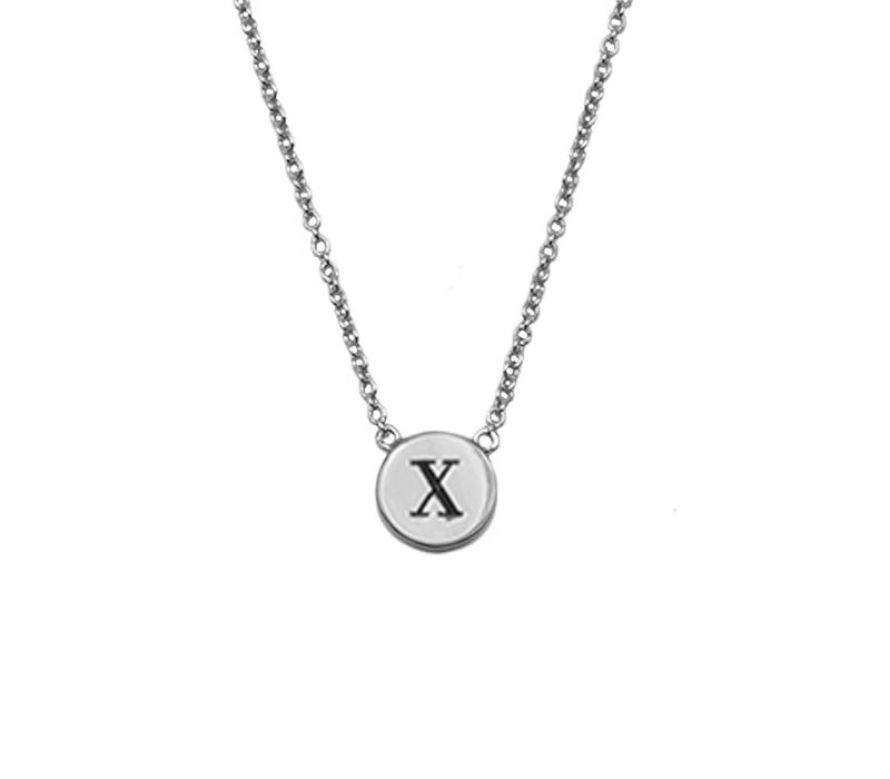 Character Silverplated Ketting letter X