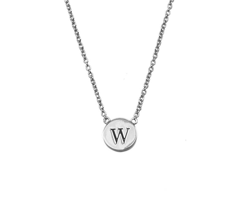 Character Silverplated Ketting letter W