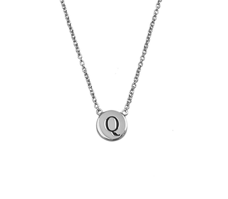Character Silverplated Necklace letter Q