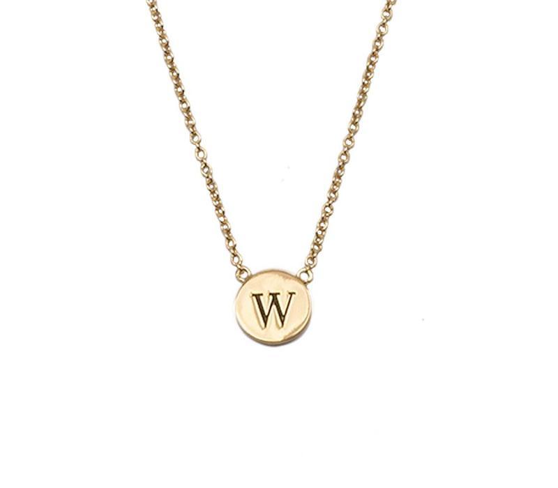 Ketting letter W 18K goud