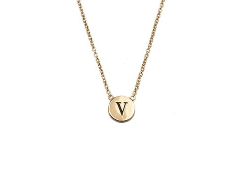 All the Luck in the World Necklace letter V gold