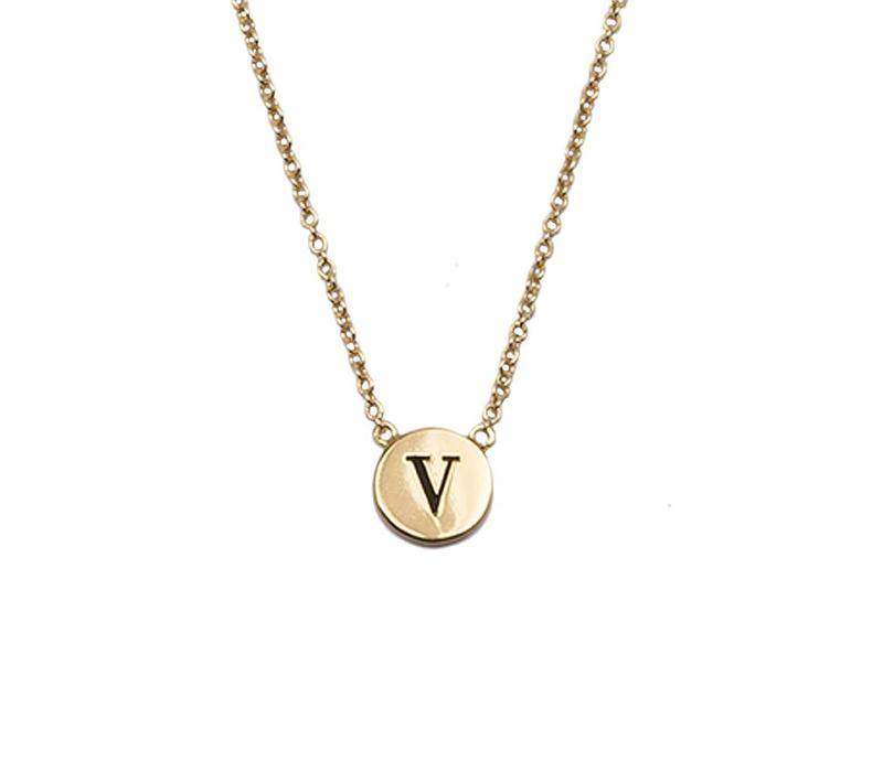 Ketting letter V 18K goud