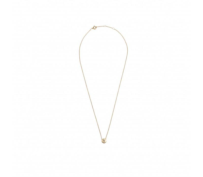 Character Goldplated Necklace letter V