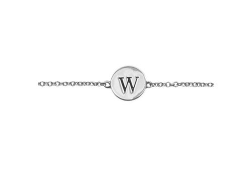 All the Luck in the World Armband letter W zilver