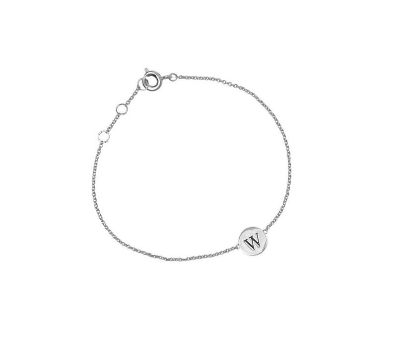 Armband letter W zilver