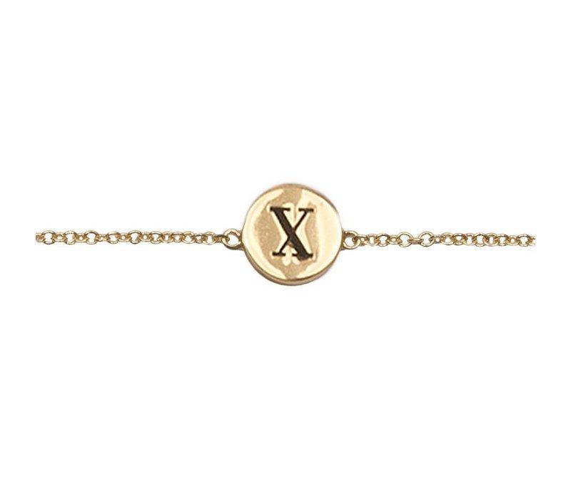 Armband letter X verguld