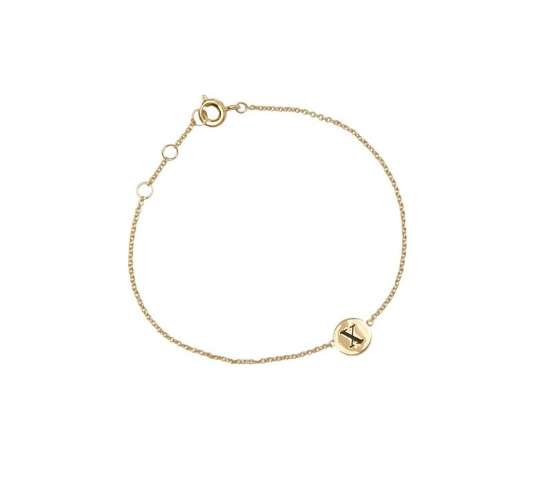 Character Goldplated Armband letter X