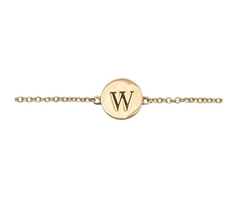 Armband letter W verguld