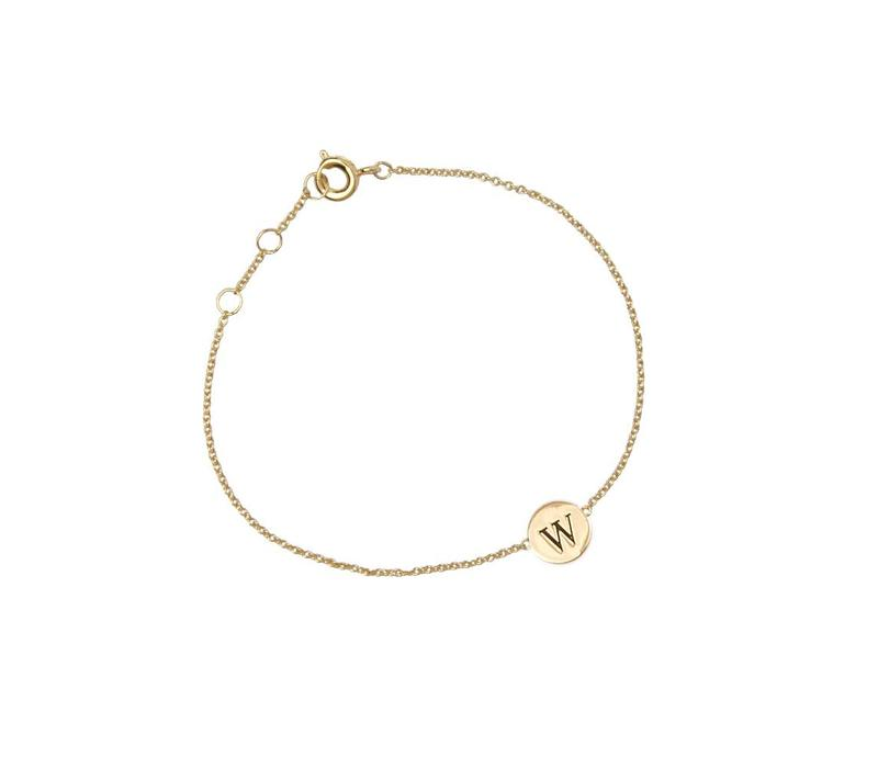 Character Goldplated Armband letter W