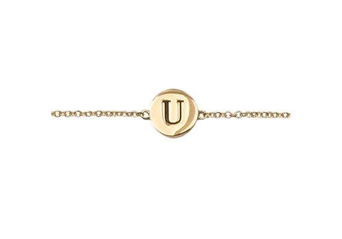 All the Luck in the World Bracelet letter U gold