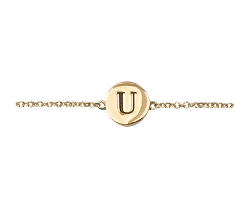 Character Goldplated Armband letter U
