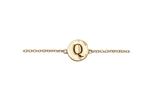 All the Luck in the World Armband letter Q 18K goud