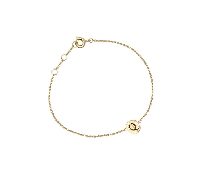 Character Goldplated Armband letter Q