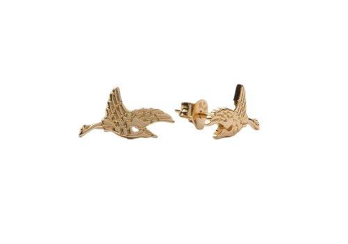All the Luck in the World Oorbellen Kraanvogel 18K goud