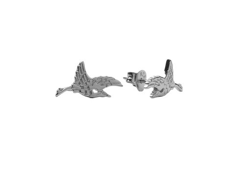 All the Luck in the World Parade Silverplated Earrings Crane