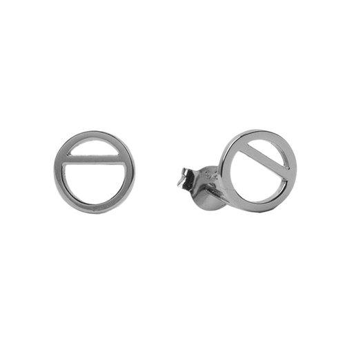 Oorbellen Geometrische cirkel zilver