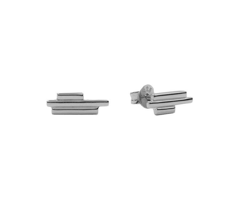 Parade Silverplated Earrings Three Bars