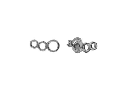 All the Luck in the World Parade Silverplated Earrings Three Circles