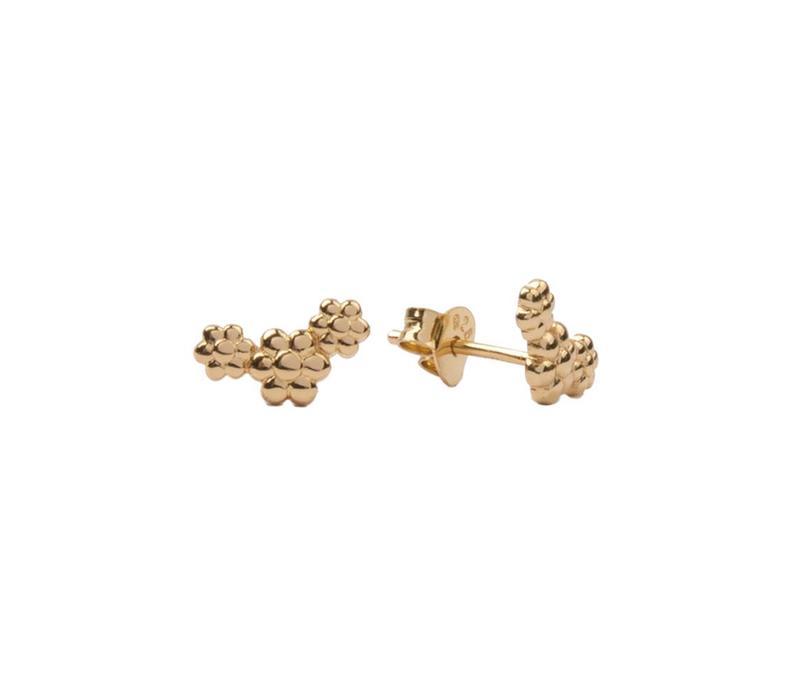 Earrings Three Flowers plated