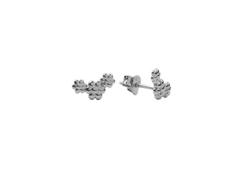 All the Luck in the World Parade Silverplated Earrings Three Flowers