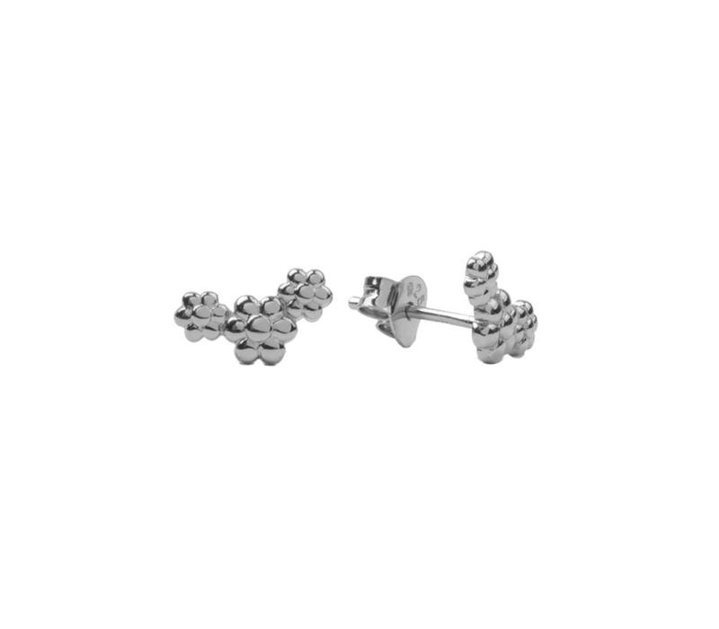 Parade Silverplated Earrings Three Flowers