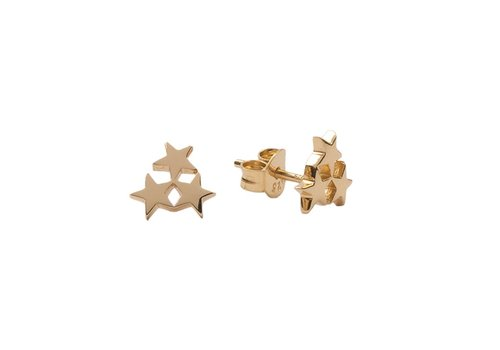All the Luck in the World Parade Goldplated Earrings Three Stars Small