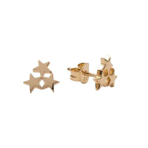 Oorbellen Drie Sterren klein 18K goud